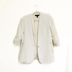 Forever 21 White Blazer with Ruched Sleeves